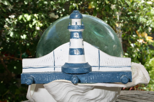 """LIGHTHOUSE"" HANGER - 12"" WHITE & BLUE NAUTICAL DECOR"