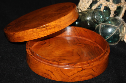 "Teak Root Keepsake Box w/ Lid 7"" X 2"" - Wooden Bowl | #syn09"
