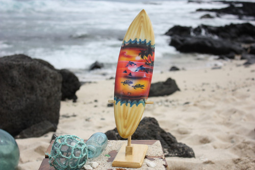 "Surfboard w/ Stand Sunset Design 16"" - Trophy"