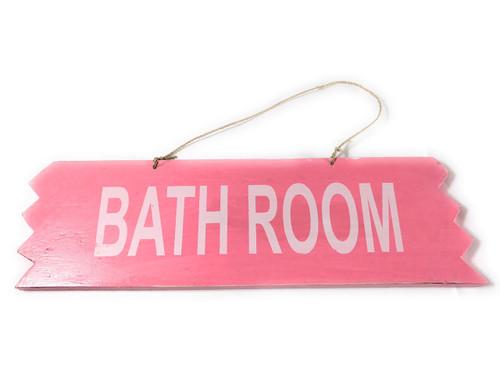 "Cute ""Bathroom"" Wooden Sign 12"" X 4"" - Pink | #snd25113p"