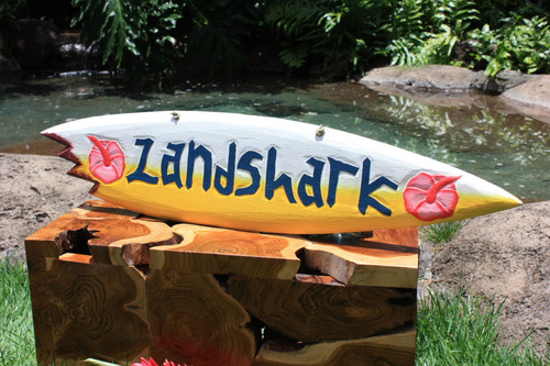 """Landshark"" Shark Bite Surf Sign - 40"" - Beach Decor"