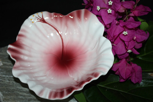 "Hibiscus White Ceramic Bowl 8"" - Hawaii Made 
