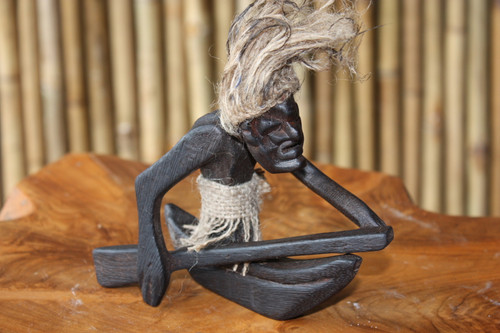 CRAZY TIKI DUDE ON OUTRIGGER CANOE - PRIMITIVE DECOR