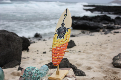 "Surfboard w/ Stand Turtle Honu Design 16"" - Trophy"