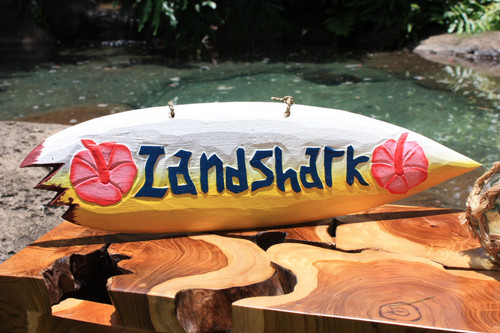 """Landshark"" Shark Bite Surf Sign - 20"" - Beach Decor"
