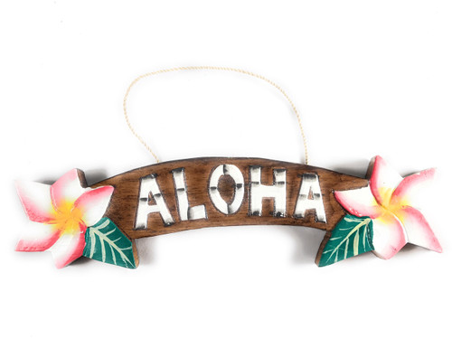 """Aloha"" Sign w/ Plumeria Flowers 9.5"" - Hawaiiana Decor 