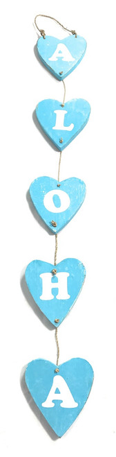 "Heart ""Aloha"" Garland Beach Sign on Wood 26"" X 4"" - Blue 