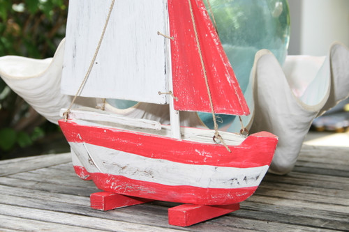 """SAIL BOAT"" RED COASTAL 16"" - HAND CARVED - COASTAL DECOR"