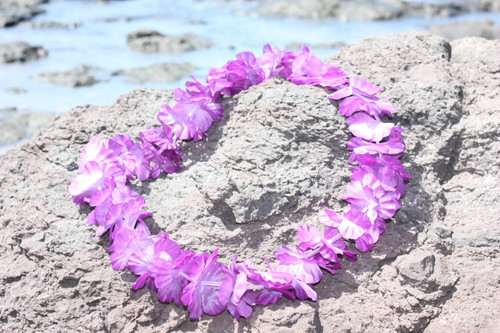 "Purple Island Lei 18"" - Hawaiian Silk Leis"