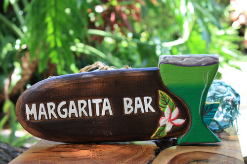 "Margarita Bar Sign 12"" - Decorative Tiki bar Signage 