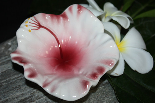 "Hibiscus White Ceramic Bowl 5"" - Hawaii Made 
