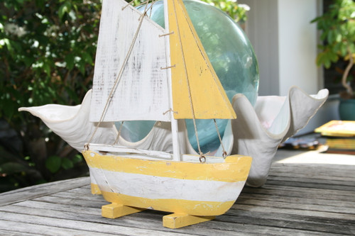 """SAIL BOAT"" YELLOW COASTAL 16"" - HAND CARVED - COASTAL DECOR"