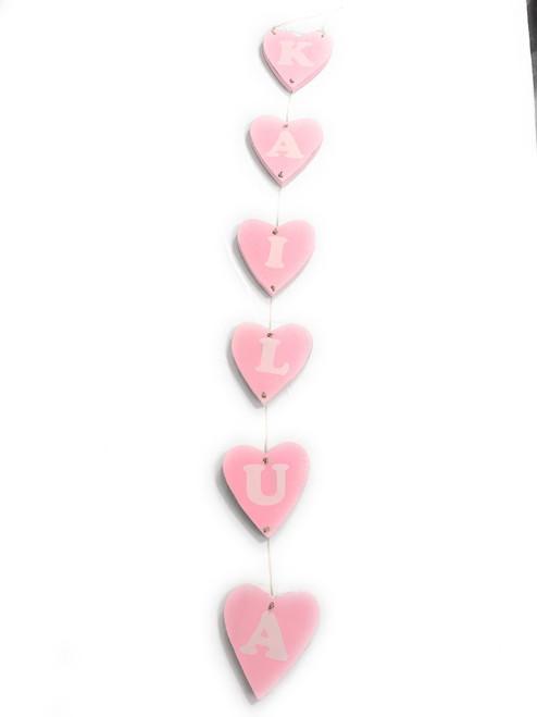 "Heart ""Kailua"" Garland Beach Sign on Wood 30"" X 4"" - Pink | #snd25123P"