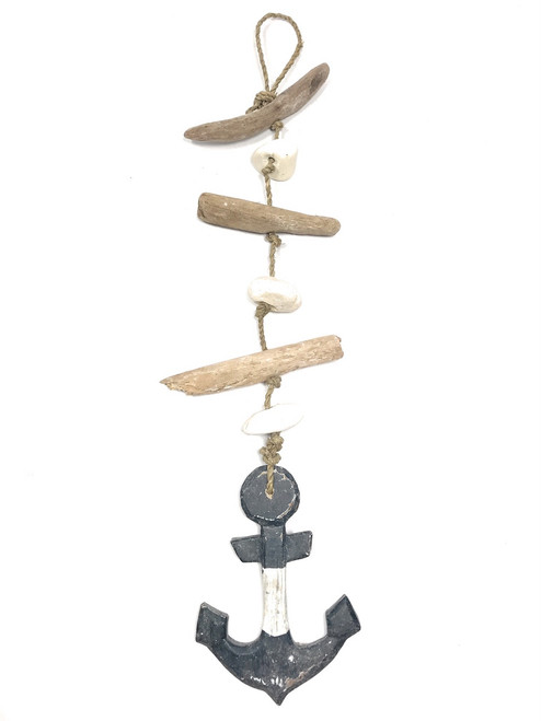 "Driftwood Garland w/ Anchor 20"" Blue - Rustic Cottage Accents 