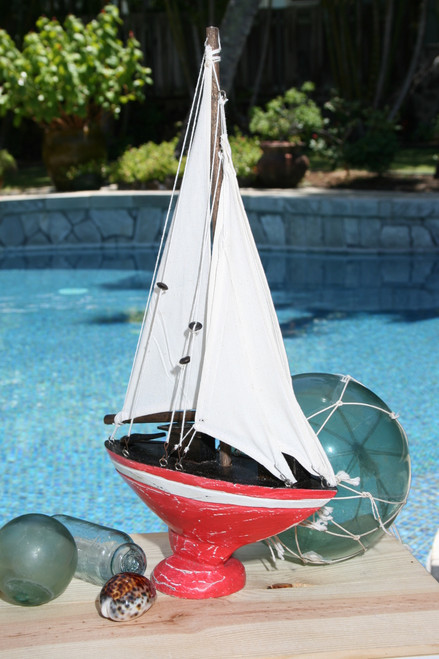"""SAILBOAT"" RED COASTAL 16"" - NAUTICAL DECOR"