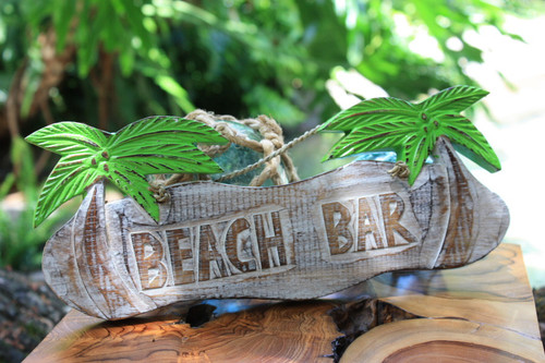 "Rustic ""Beach Bar"" Tiki Bar Sign w/ Palm Trees 