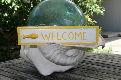 """WELCOME"" NAUTICAL SIGN 12"" YELLOW - BEACH DECOR"