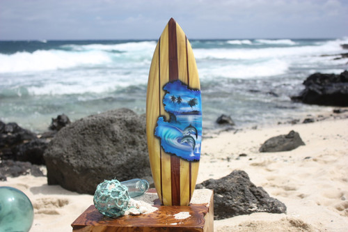 "Surfboard w/ Dolphins 20"" - Surf Decor Hawaii - Trophy"