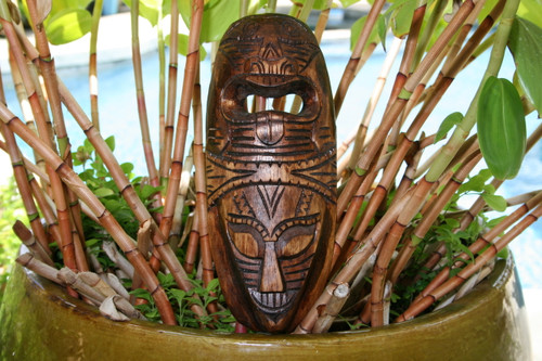 "FIJIAN TIKI MASK W/ 2 DEITIES - 12"" LOVE & STRENGTH - POLYNESIAN ART"