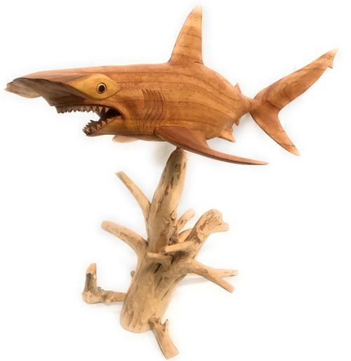 "Large Hammerhead Shark Carving 40"" - Natural Drift Wood Base | #ton04"