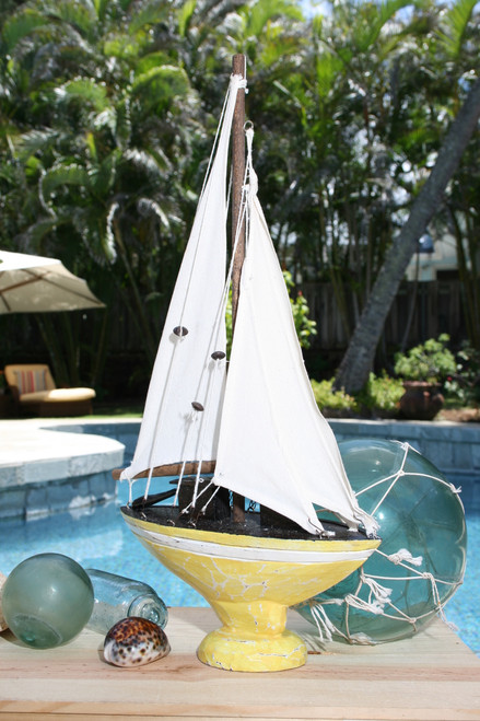 """SAILBOAT"" YELLOW COASTAL 16"" - NAUTICAL DECOR"