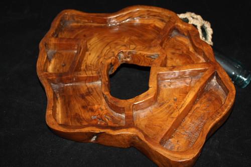 "Teak Root 6-Divider Platter/Tray - 17"" X 14"" Hand Carved"