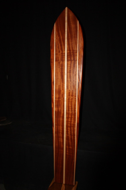 "Triple Stringer Koa Surfboard 74"" X 13"" Hawaiian Vintage | #koalb16"
