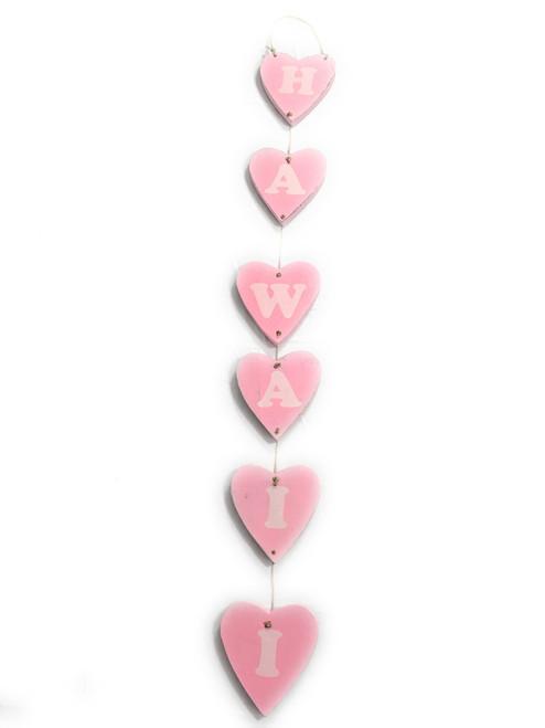 "Heart ""Hawaii"" Garland Beach Sign on Wood 30"" X 4"" - Pink | #snd25124B"
