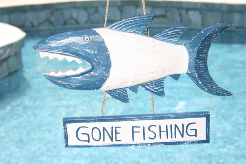 """GONE FISHING"" SHARK ATTACK SIGN 15"" BLUE - NAUTICAL DECOR"