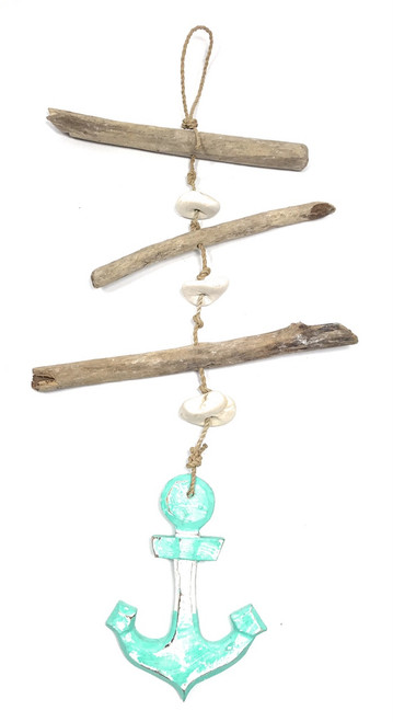 """Driftwood Garland w/ Anchor 20"""" Turquoise - Rustic Cottage Accents 