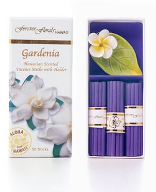 GARDENIA INCENSE W/ CERAMIC HOLDER - HAWAIIAN GIFT BOX SET