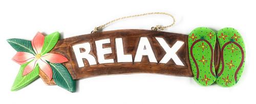 """Relax"" Beach Sign w/ Plumeria & Slippers 18"" - Green   #snd25127g"
