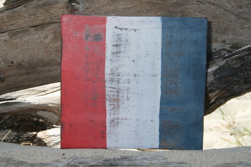 """T"" NAUTICAL RUSTIC FLAG 8' X 8' - WOOD PANEL - NAUTICAL DECOR"