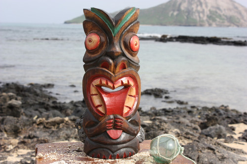 "Big Kahuna Tiki Mask 12"" - Hawaiian Tiki Bar Decor 