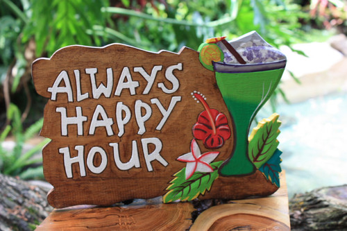 "Tiki Bar Sign ""Always Happy Hour"" with Margarita 