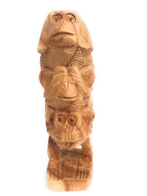 """3 Wise Monkeys"" Hear Speak See No Evil 8"" Totem Hand Carved | #rum01"