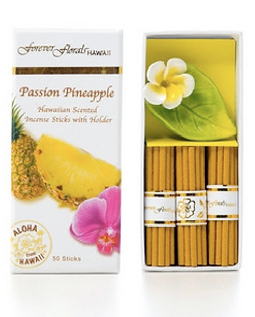 PASSION PINEAPPLE INCENSE W/ CERAMIC HOLDER - HAWAIIAN GIFT BOX SET