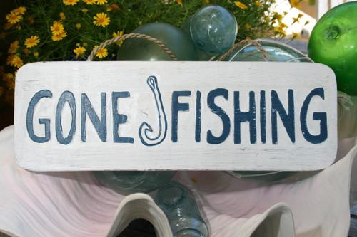 """GONE FISHING"" BEACH SIGN 14"" - RUSTIC WHITE & BLUE - COASTAL DECOR"