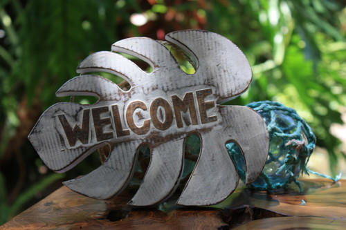 """Welcome"" White Monstera Sign - Hawaiian Decor"