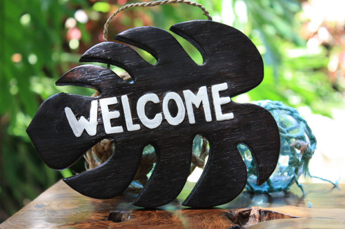 """Welcome"" Brown Monstera Sign - Hawaiian Decor"