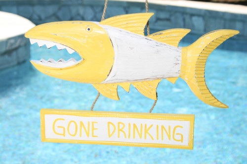"""GONE DRINKING"" SHARK ATTACK SIGN 15"" YELLOW - NAUTICAL DECOR"