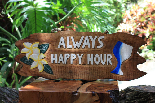 "Tiki Bar Sign ""Always Happy Hour"" w/ Plumeria & Cocktail 