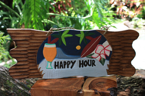 "Tiki Bar Sign ""Happy Hour"" Night on the Beach Sign 20"" 