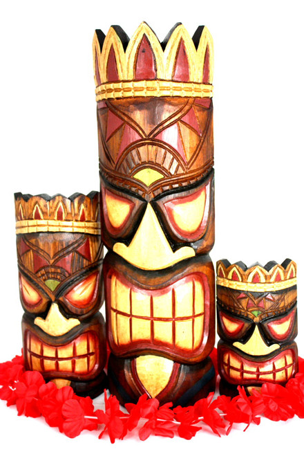 "Set of 3 Tiki Masks Fishing, Ocean, Happy 20"", 12"", 8"" 