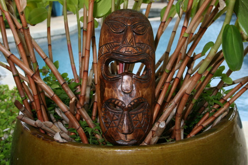 "FIJIAN TIKI MASK W/ 2 DEITIES - 12"" HAPPINESS & LUCK - POLYNESIAN ART"