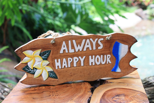 """""""Always Happy Hour"""" with Plumeria and Cocktail Sign - Tiki Bar Decor"""