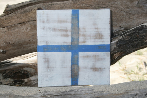 """X"" NAUTICAL RUSTIC FLAG 8' X 8' - WOOD PANEL - NAUTICAL DECOR"