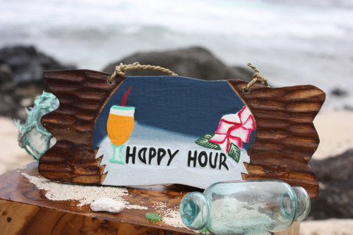 """Happy Hour"" Tiki Bar Sign Night on the Beach Sign 