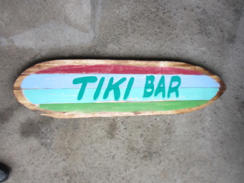 """Tiki Bar"" Rustic Sign on Wood Planks 40"" 