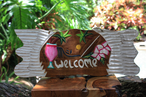 """Welcome"" Tiki Bar Sign w/ Diamond Head Sunset Sign 
